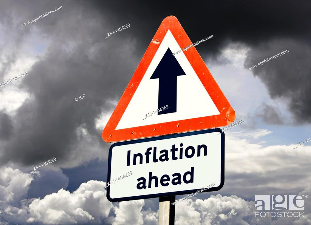 Stock Photo: Inflation ahead - UK road sign concept.
