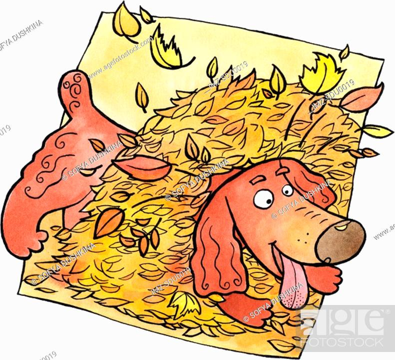 Stock Photo: A dog playing in a pile of autumn leaves.