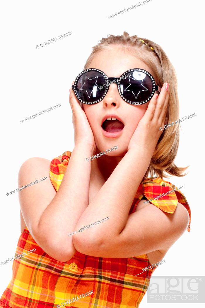 Stock Photo: Little Girl with Blond Hair and Funny Glasses - Isolated on White.