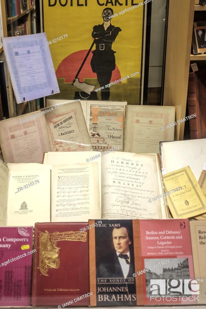 Stock Photo: England, London- interior of antiquarian bookshops selling music titles.