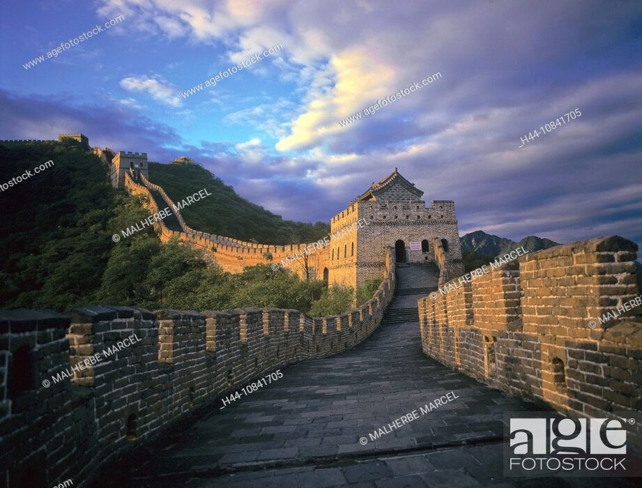 Stock Photo: China, Asia, Great Wall of China, Great Wall, Beijing, Great Wall, near Mutianyu, Asia, landscape, historic, hills, UN.
