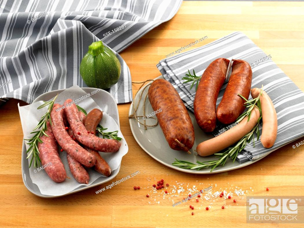 Stock Photo: Variety of sausages.