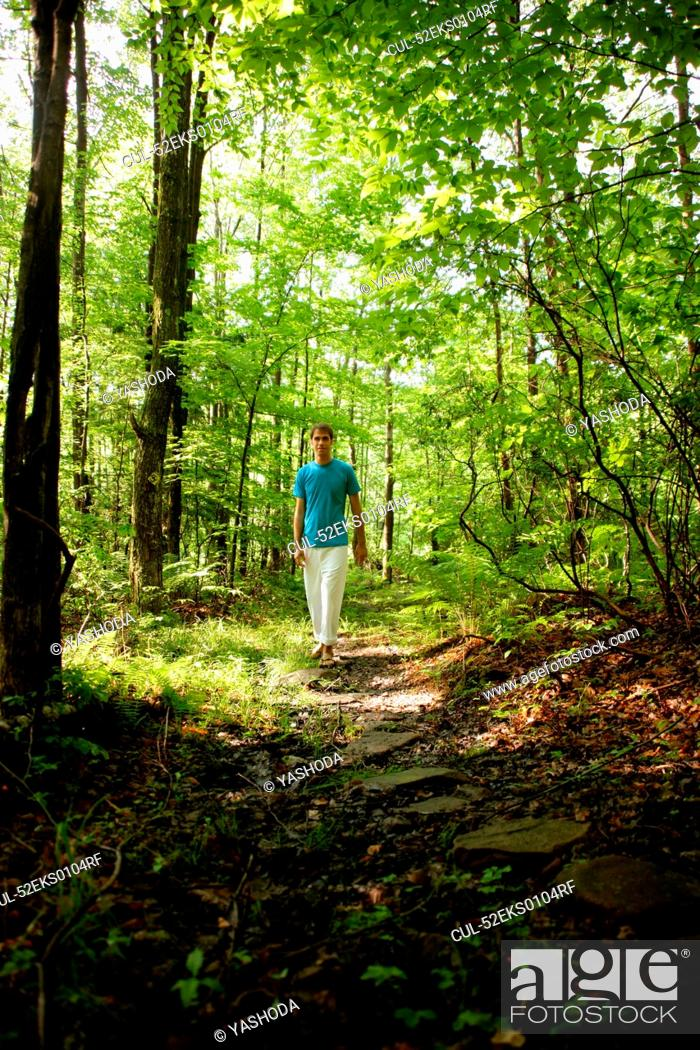 Stock Photo: Man walking in forest.
