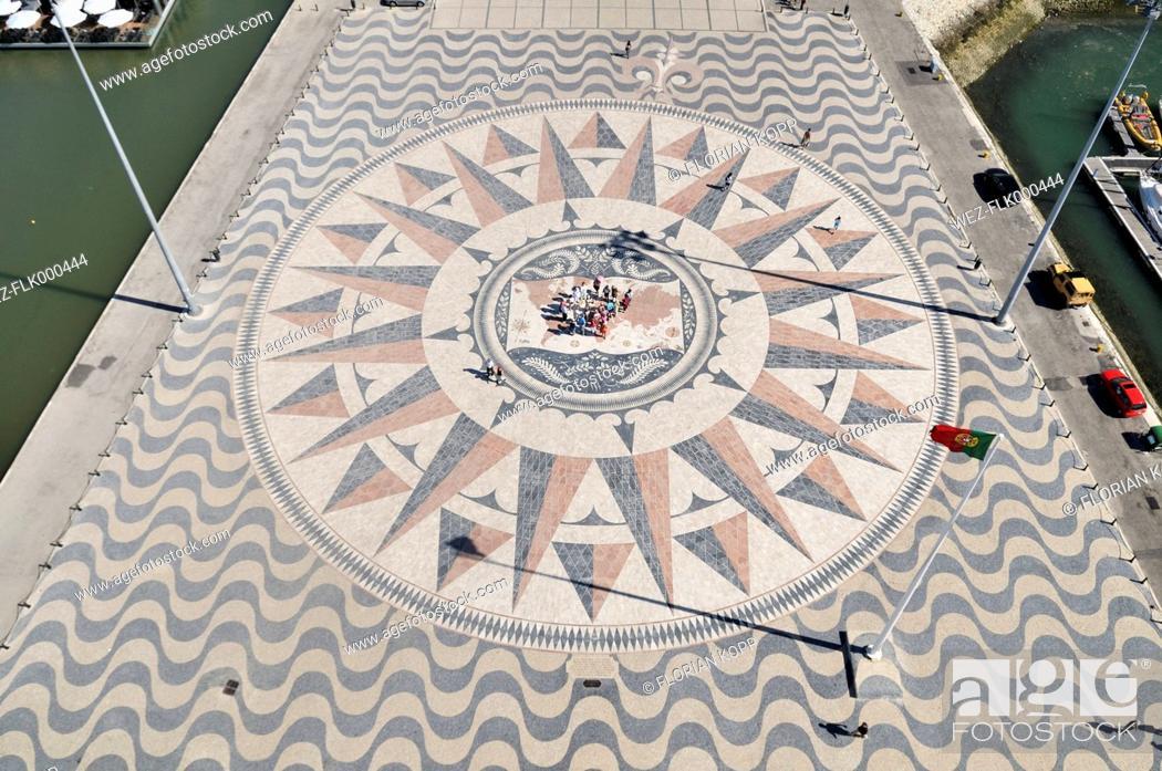 Portugal, Lisbon, Padrao dos Descobrimentos, Compass rose and world ...