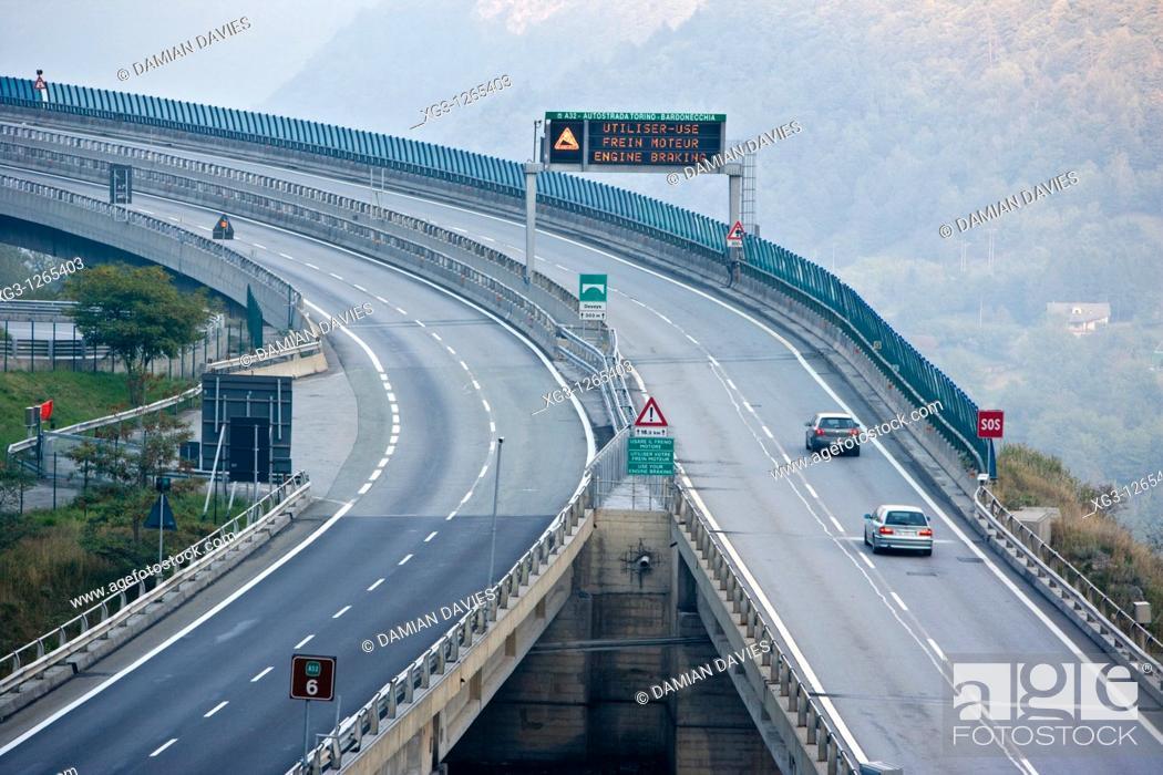 Stock Photo: A32 autostrada, Piemonte, Italy.