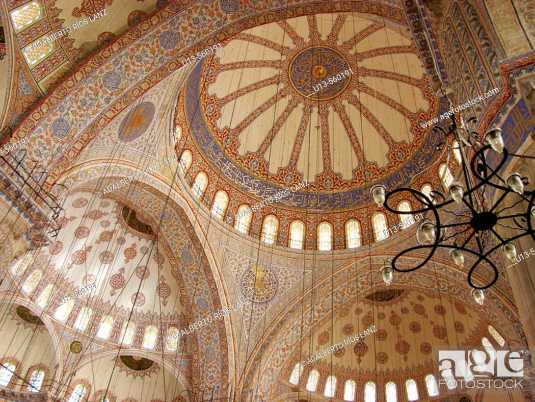 Stock Photo: Daytime Interior Dome Blue Mosque Istanbul Turkey.