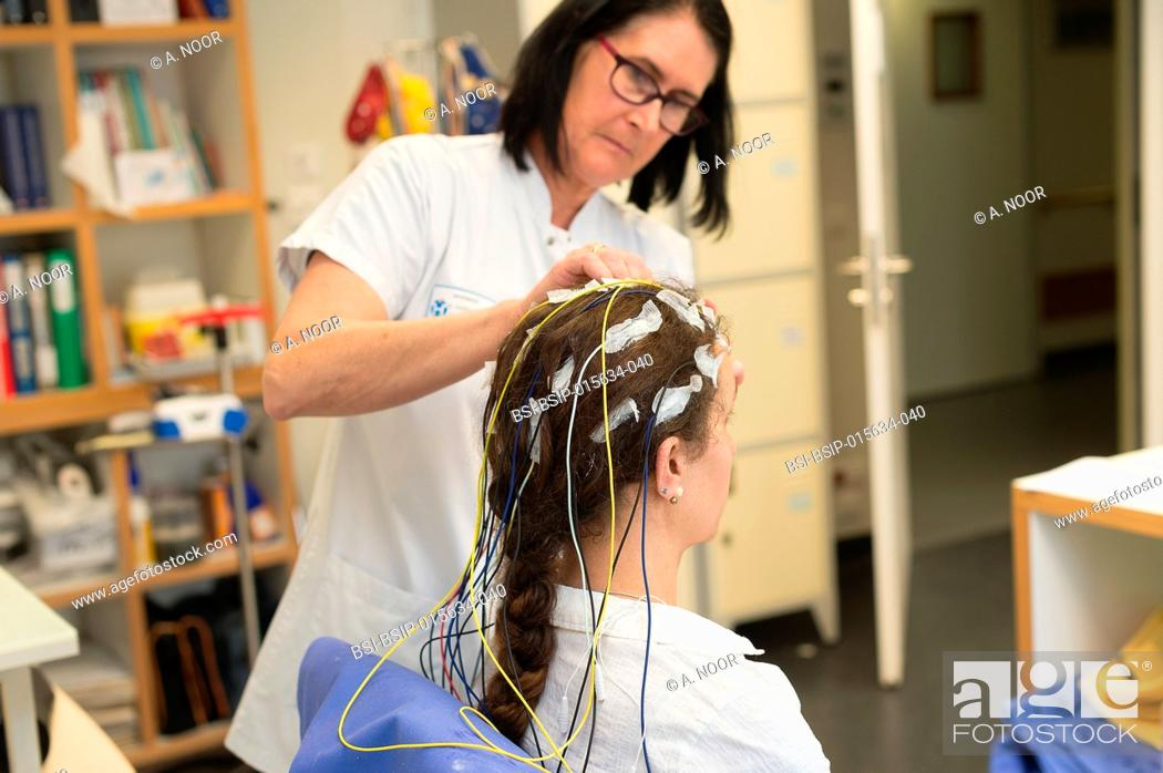 Stock Photo: Reportage in the epileptology unit in Nice Hospital, France. Long-term EEG (3 days) for a check-up of partial epilepsy.
