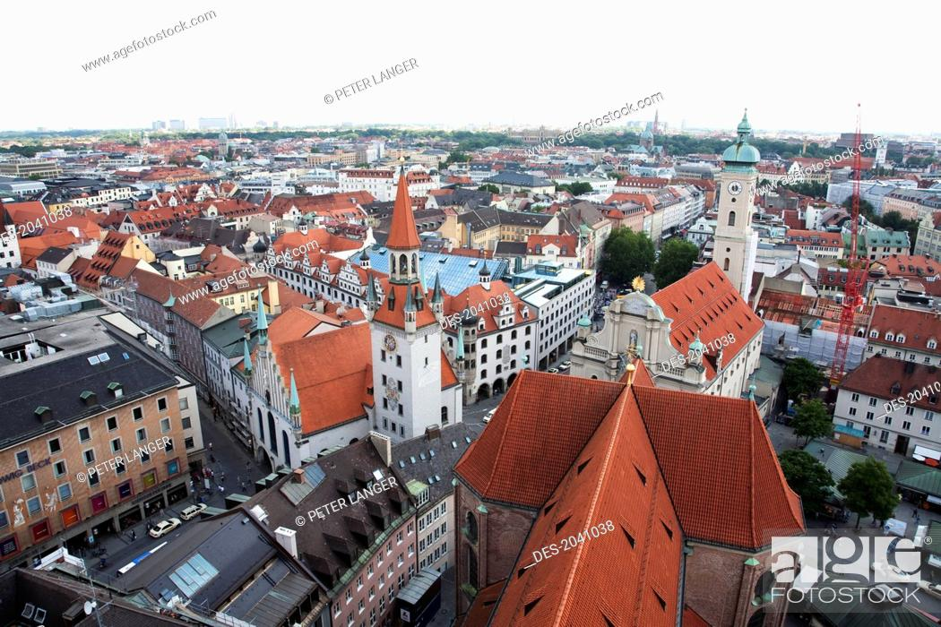 Stock Photo: Panorama Of Munich As Seen From The Church Of St. Peter Bell Tower, Bavaria, Germany.