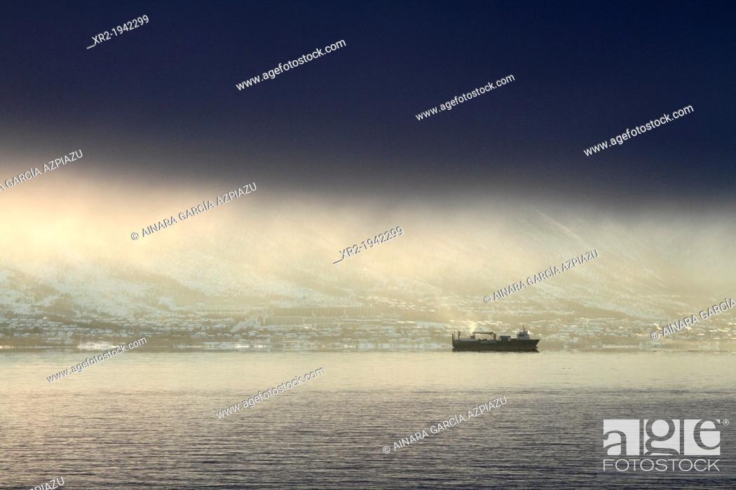 Stock Photo: Ship arriving Tromso, Norway.