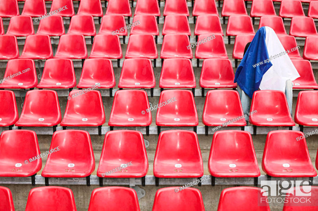 Stock Photo: Fan alone and under flag.