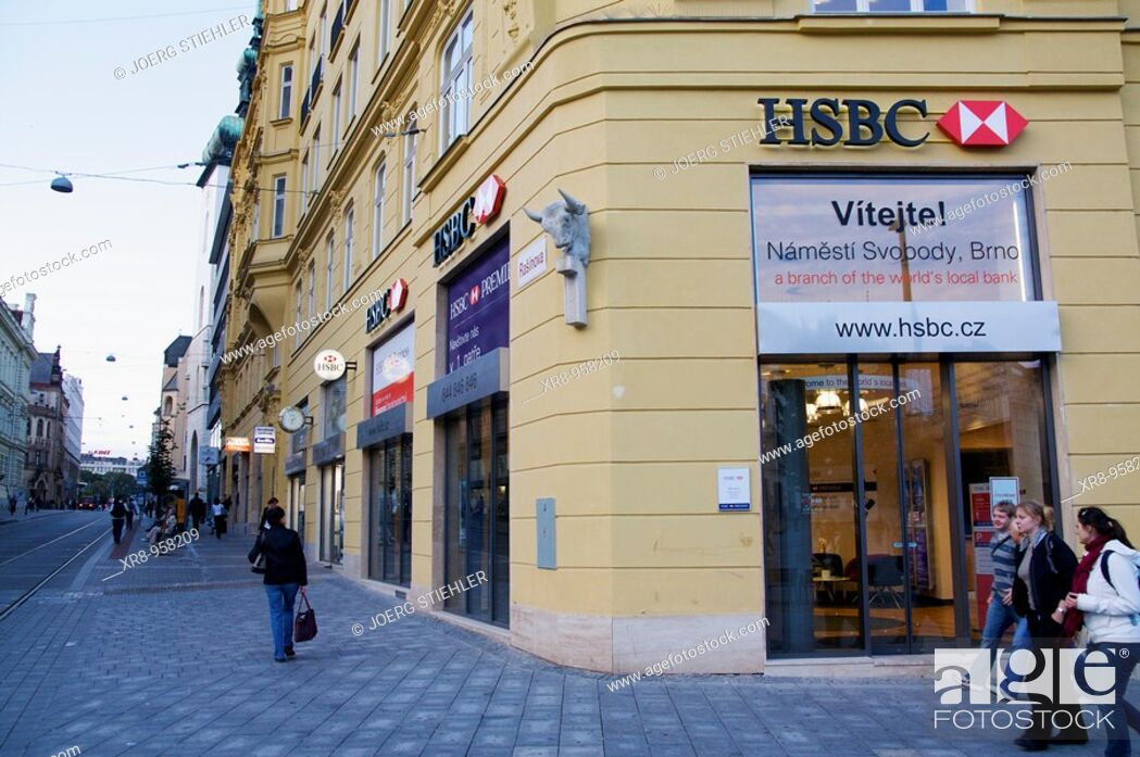 Stock Photo: HSBC, Svobody Place, Brno, Czech Republic.