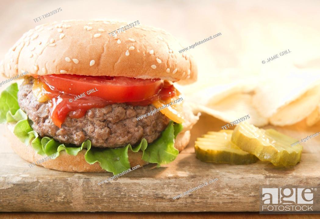 Stock Photo: Close up of hamburger.