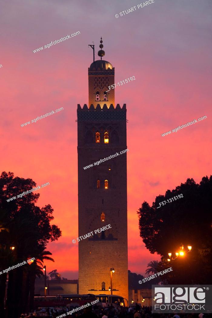 Stock Photo: Koutoubia Mosque in Marrakech, Morocco.