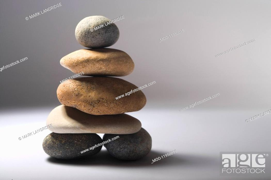 Stock Photo: Stack of balanced pebbles.