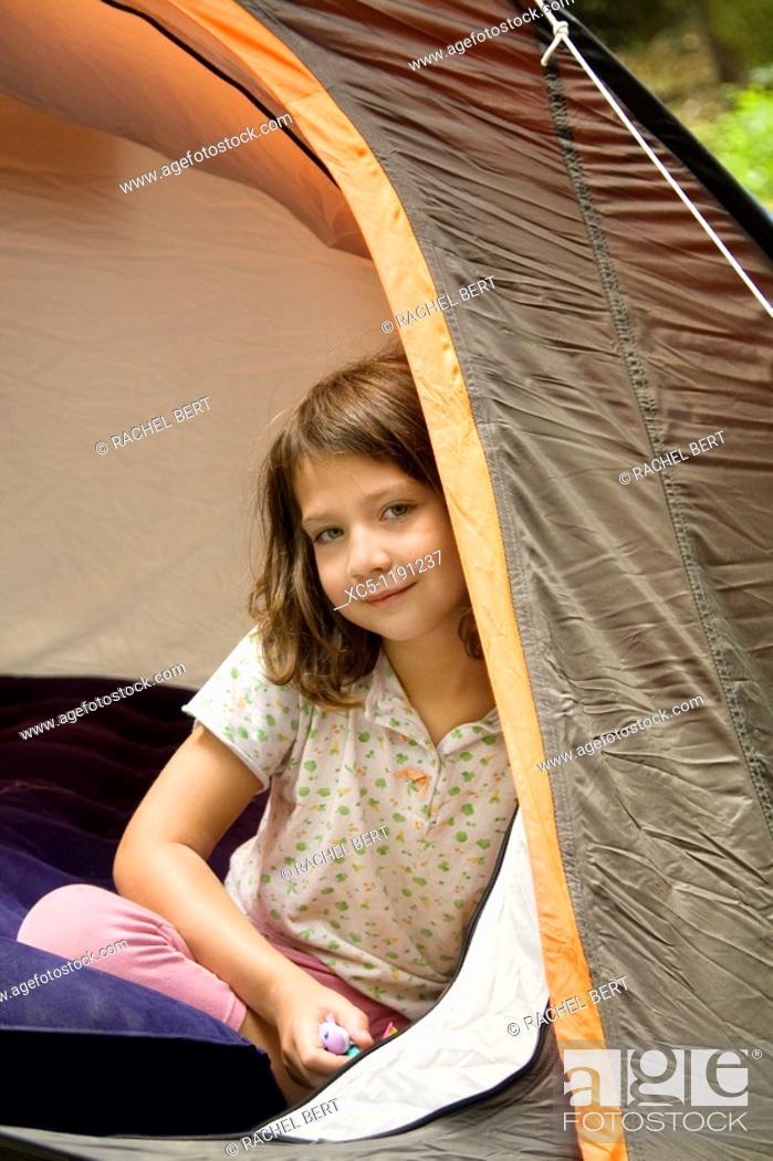 Stock Photo: Girl camping, summer time, Montseny Natural Park, Barcelona, Catalonia, Spain.