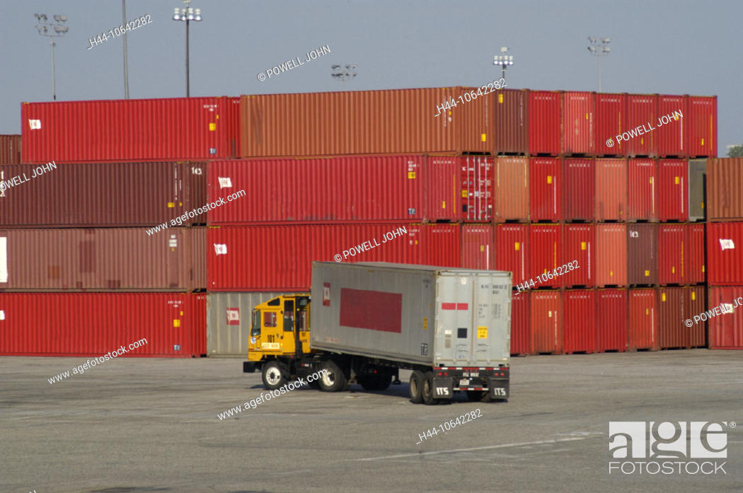 Imagen: 10642282, California, California, Frachhafen, harbour, port, industry, California, truck, Long Beach container terminal, trans.