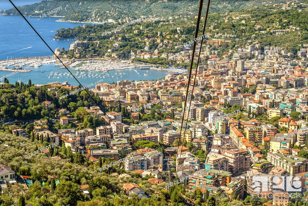 Stock Photo: Bay of Rapallo view from the Chiesa Madonna di Montallegro, Liguria, North West Italy.