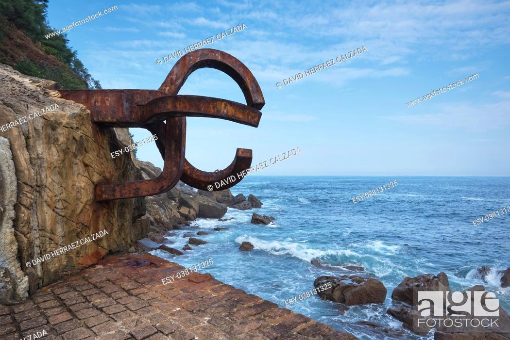 Stock Photo: Peine del viento Sculpture in San Sebastian, Spain.