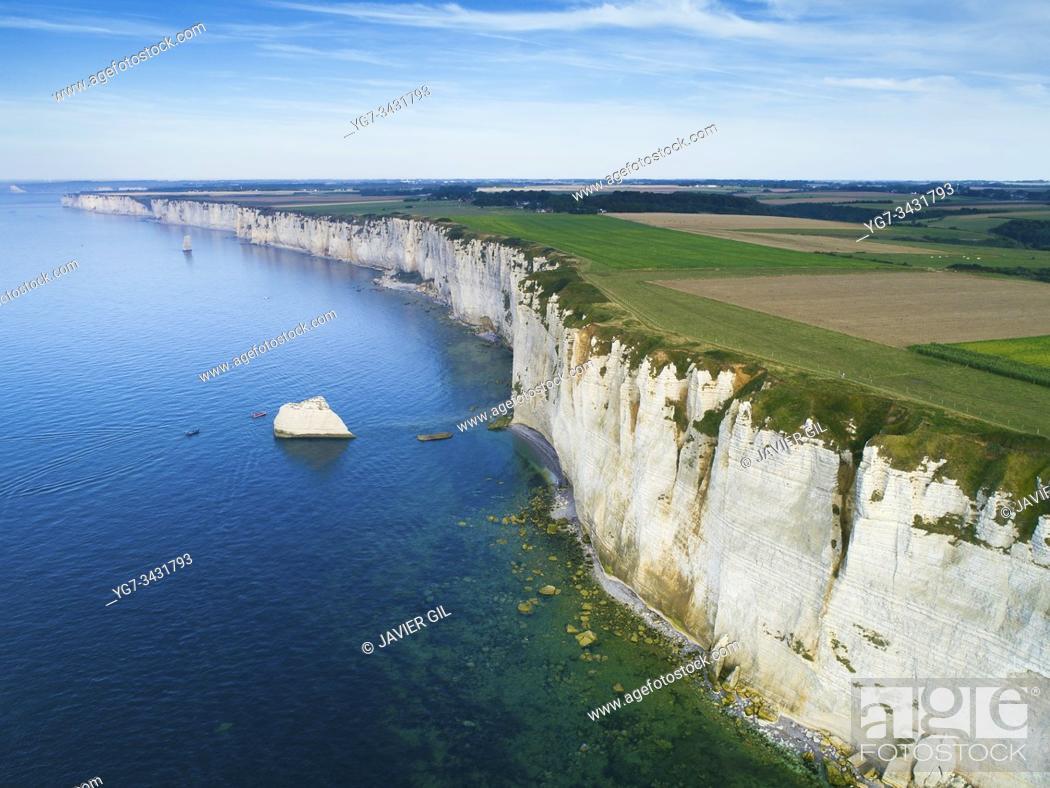 Stock Photo: Cliffs of Etretat, Normandy, France.