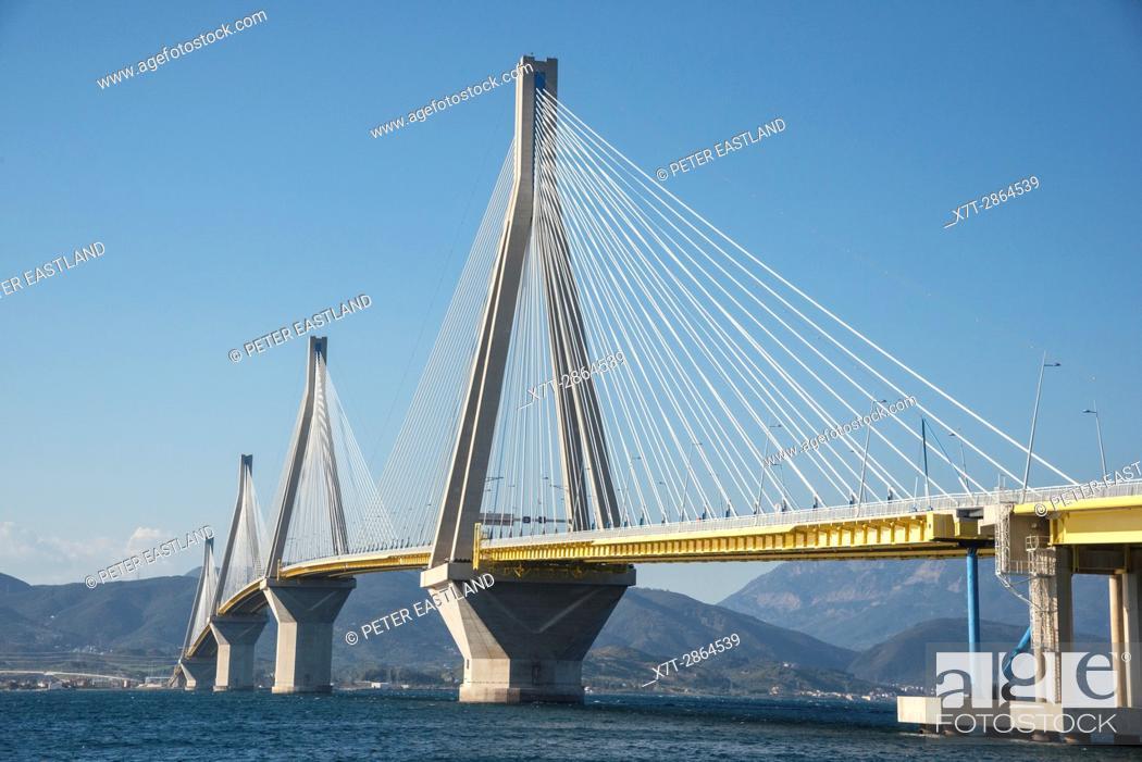 Stock Photo: The Rio - Antirrio bridge, near Patras, linking the Peloponnese with mainland Greece accross the Gulf of Korinth.