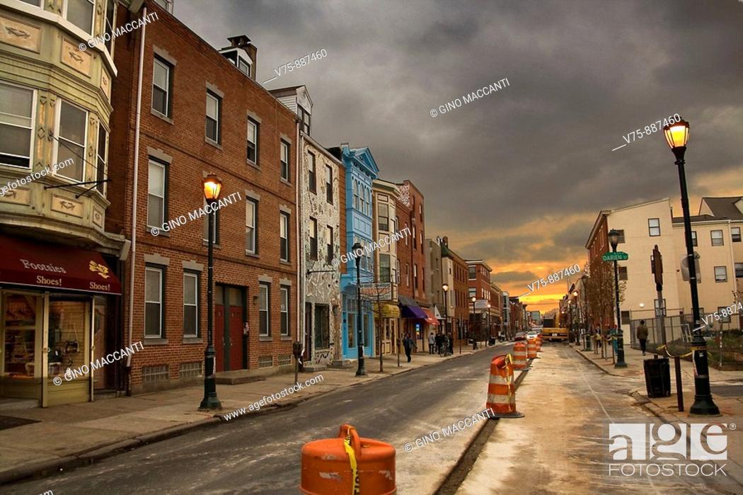 Stock Photo: Public works at Darien Street, Philadelphia, Pennsylvania, USA.