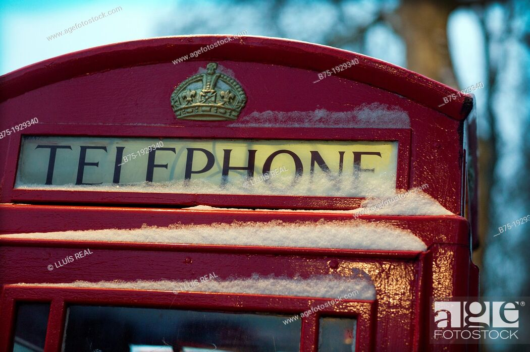 Stock Photo: foreground of a tipical english Telephone box in London, England, UK.