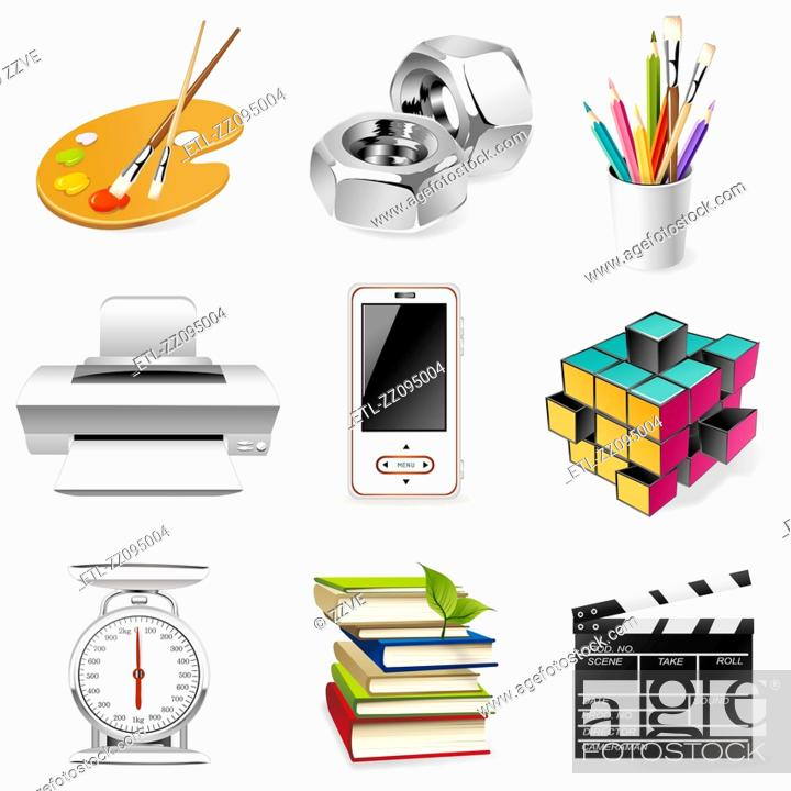 Stock Photo: office supply icon set.