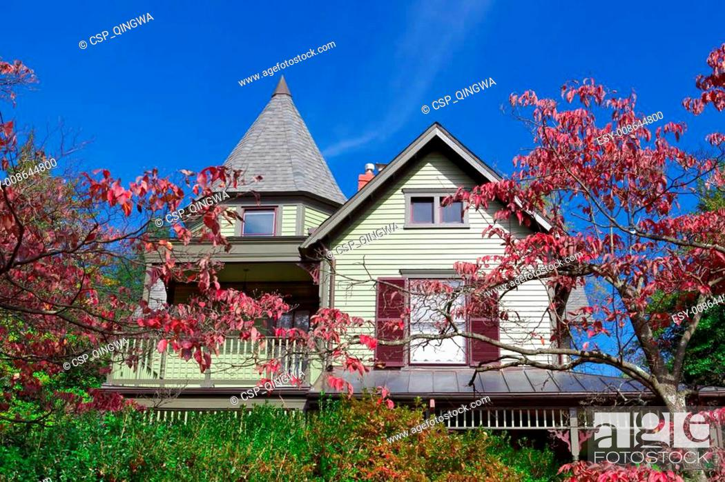 Stock Photo: Single Family House Home Victorian Queen Anne Fall.
