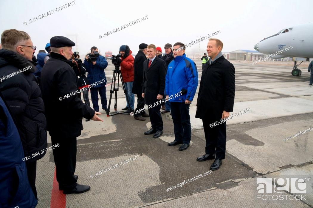 Stock Photo: The Expedition 46-47 crewmembers arrive in Baikonur, Kazakhstan Nov. 30 for final pre-launch training following a flight from their training base at the Gagarin.