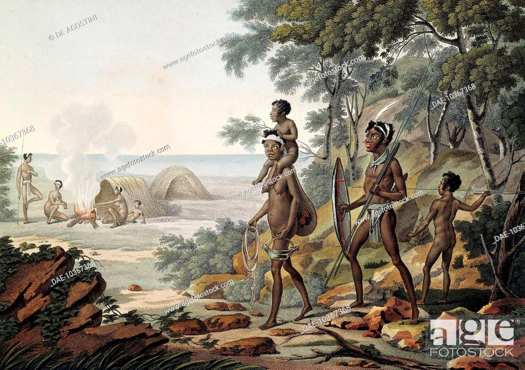 Aboriginal Family, Port Jackson, now Sydney, engraving from ...