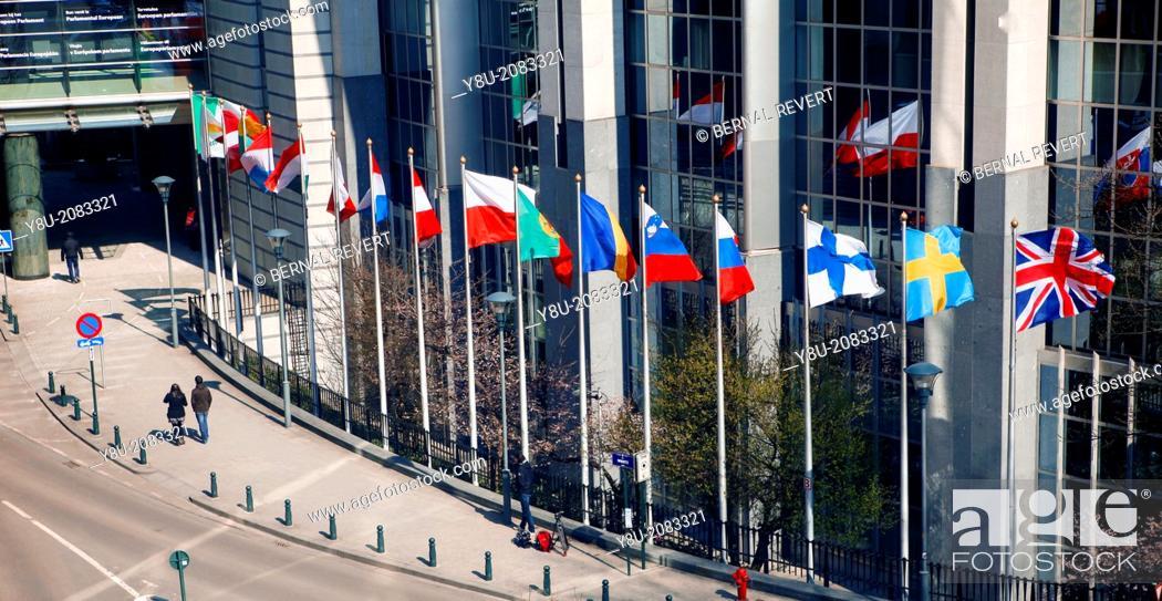Stock Photo: Flags waving at the European Parliament headquarters.