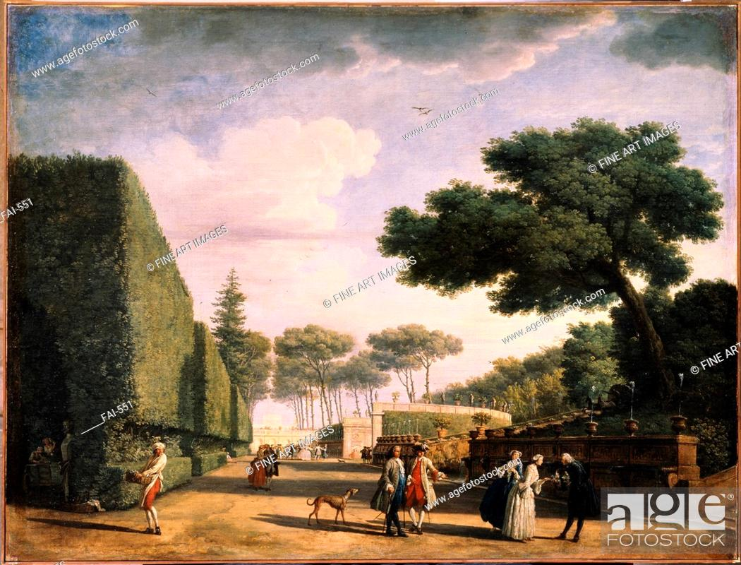 Stock Photo: View in the Park of the Villa Pamphili in Rome. Vernet, Claude Joseph (1714-1789). Oil on canvas. Rococo. 1749. State A. Pushkin Museum of Fine Arts, Moscow.