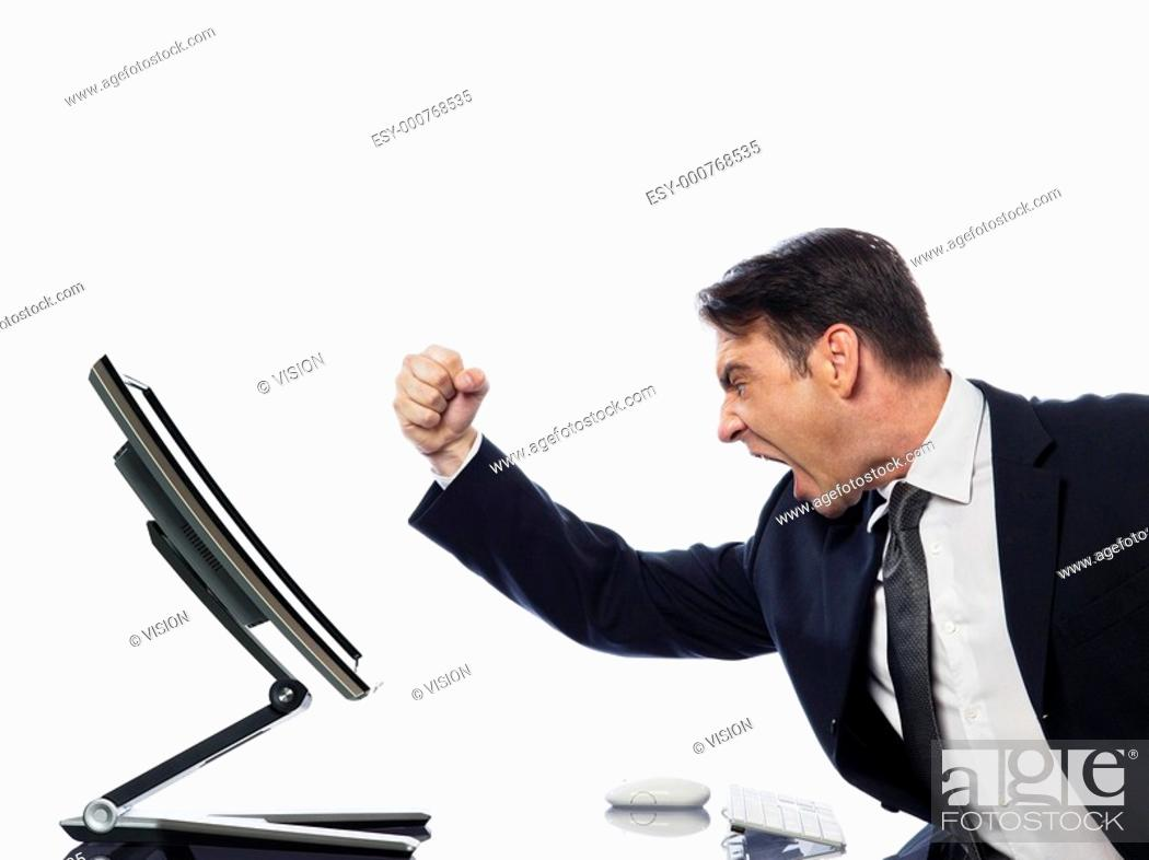 Stock Photo: relationship between a caucasian man and a computer display monitor on isolated white background expressing malfunction failure concept.