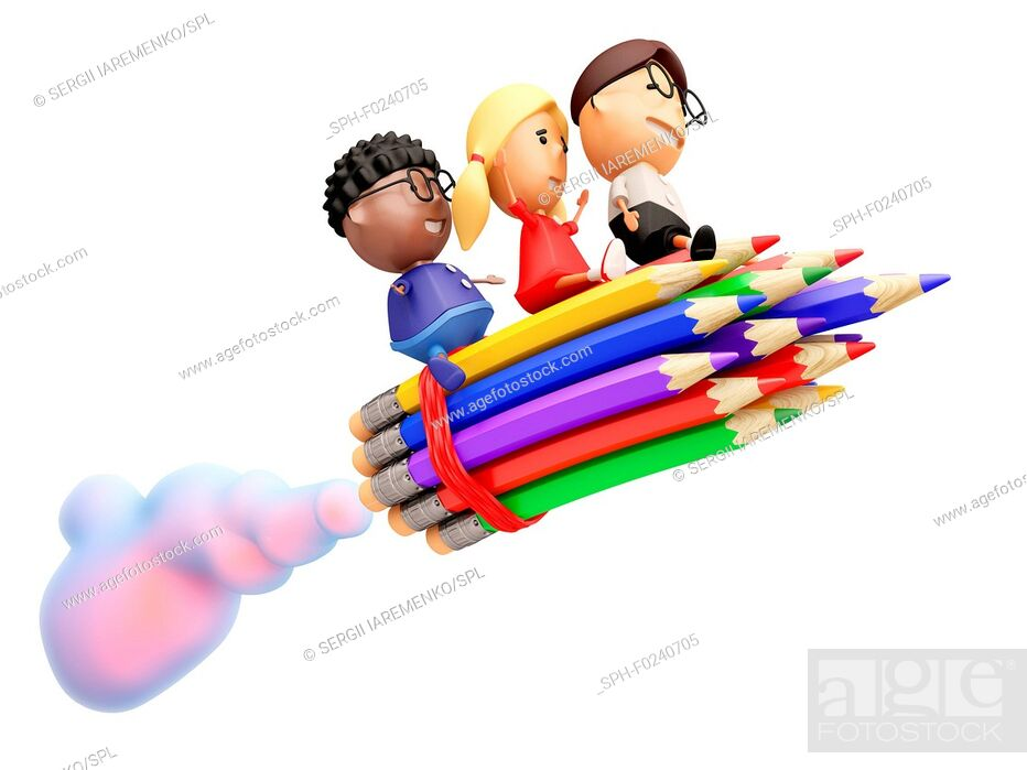 Stock Photo: Funny school kids ride on a rocket. Isolated on white. 3D illustration.