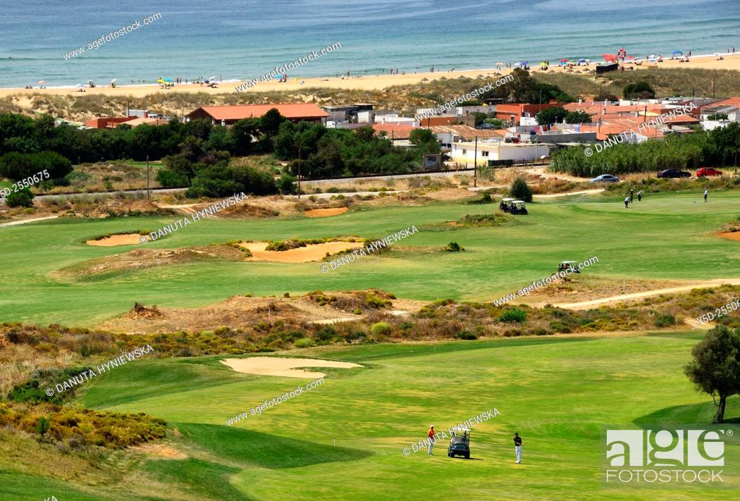Imagen: Europe, Portugal, Algarve, Faro district, Lagos, Onyria Palmares Golf Course located near Lagos, laid out on the side of a south-facing hill overlooking the Bay.