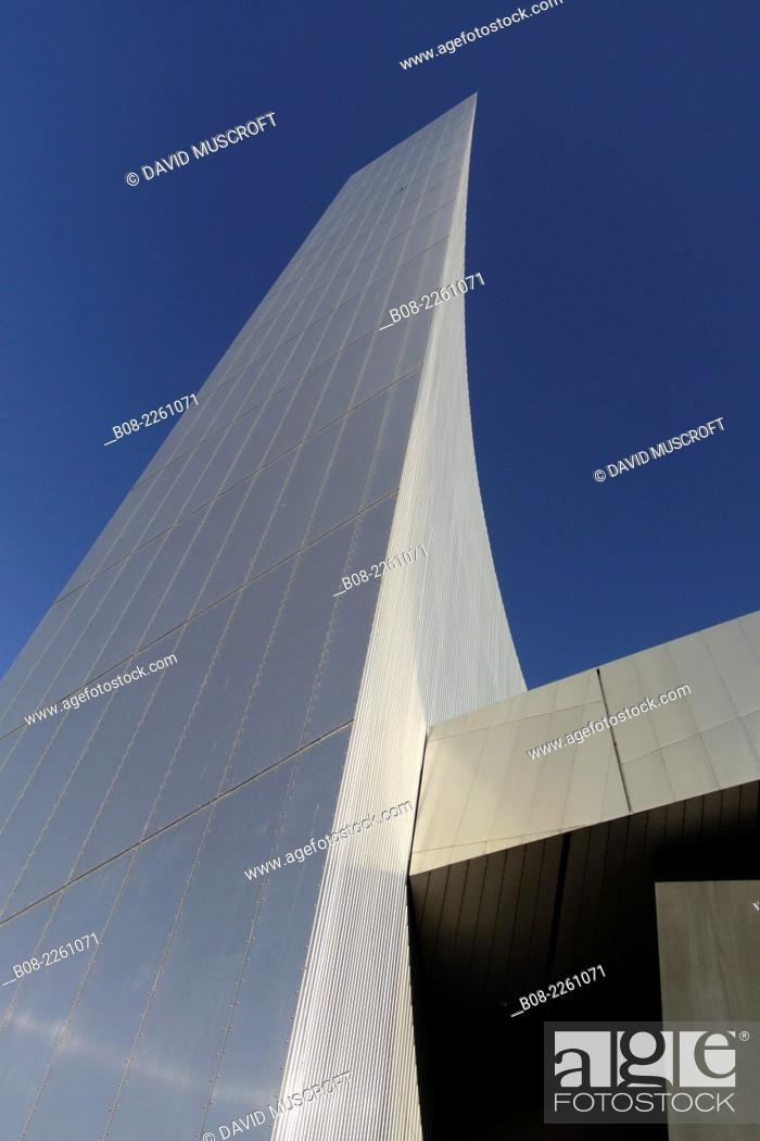 Stock Photo: Futuristic tower building of the Imperial War Museum North, Manchester , UK.