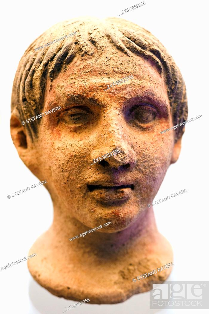 Stock Photo: Votive head at the altar of the queen (3rd cent. BC) - Tarquinia National Archaeological Museum, Italy.