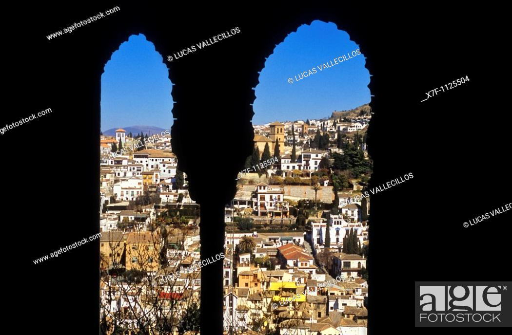 Stock Photo: Albaicin quarter from Oratory of Mexuar Mexuar Nazaries palaces  Alhambra, Granada  Andalusia, Spain.