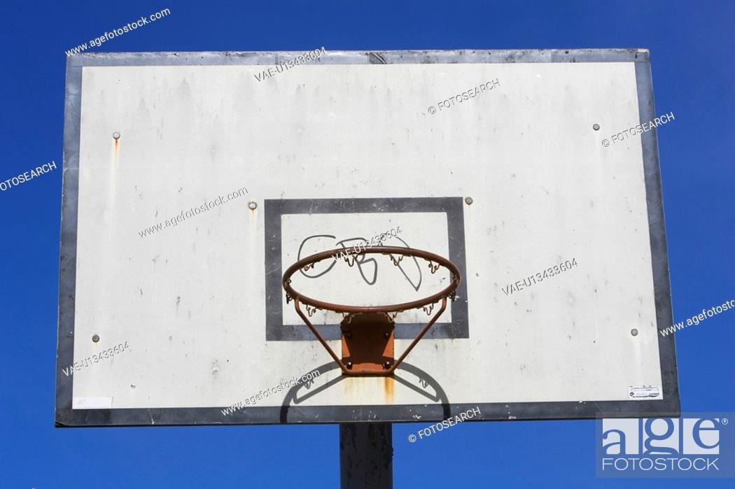 Stock Photo: Basketball Hoop, Blue, Circle, Close-Up, Court.