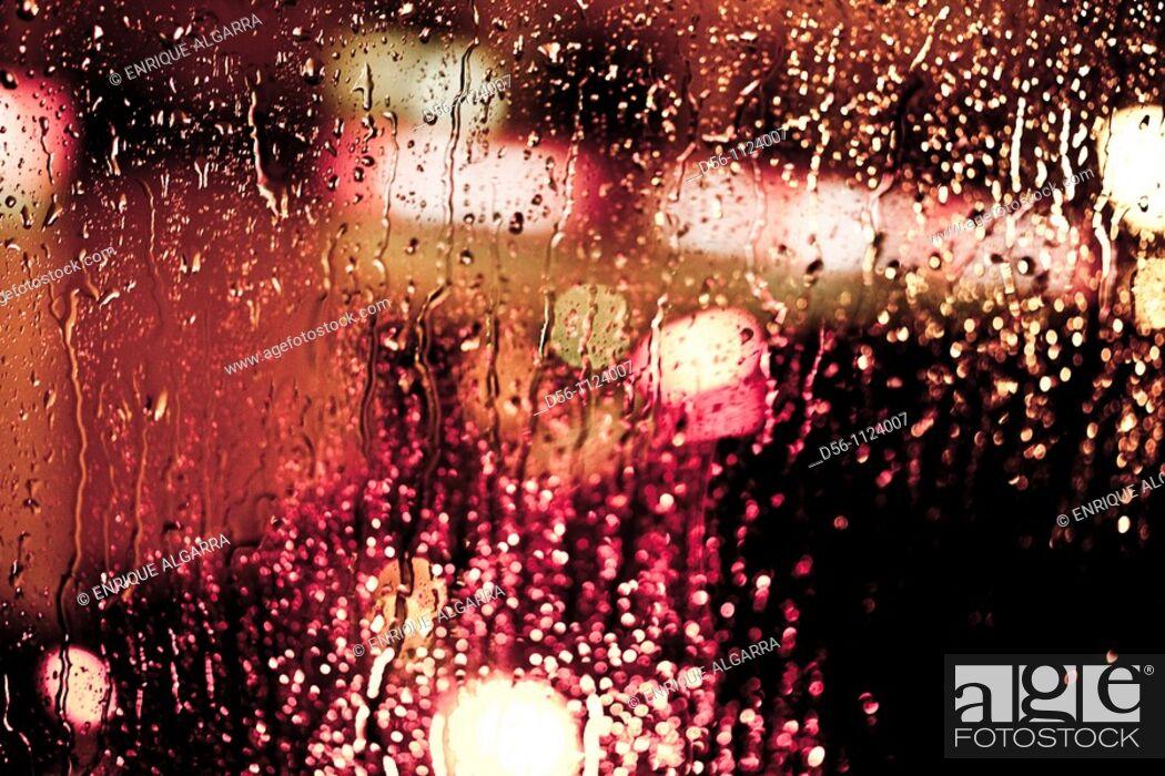 Stock Photo: lights in a rainy day, Valencia, Spain.