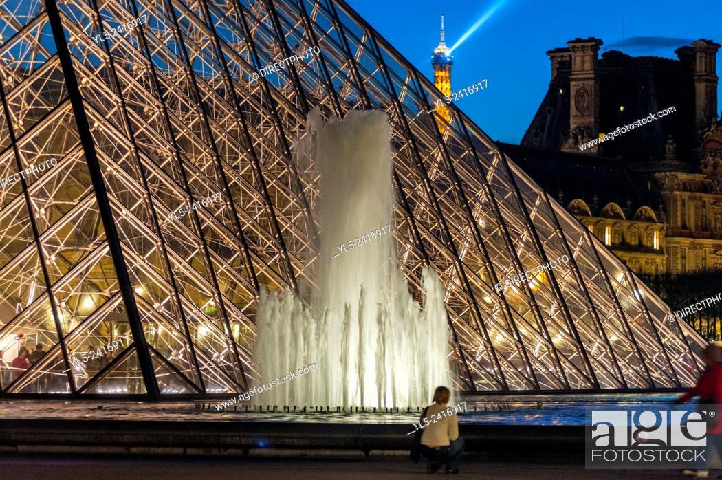 Stock Photo: Paris, France - Pyramid at Night, The Louvre Museum, Credit Architect: I.M. Pei.