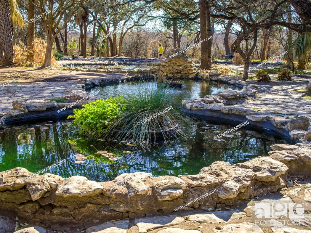 Stock Photo: Series of ponds in park in Austin, TX.