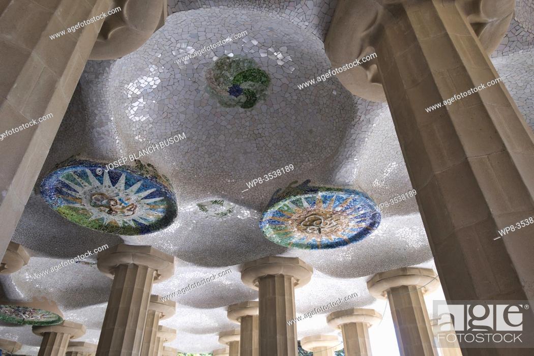 Stock Photo: Mosaic decorations at Parc Güell by Antoni Gaudí Barcelona Catalonia, Spain.