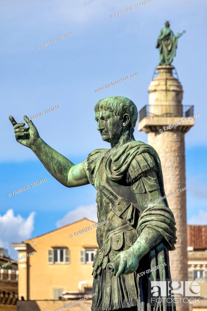 Stock Photo: Statue and Column of Emperor Trajan in via dei Fori Imperiali, Rome Italy.
