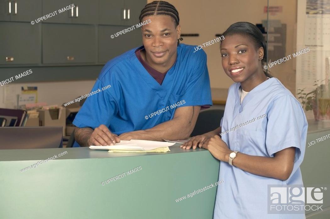 Stock Photo: African nurses talking.