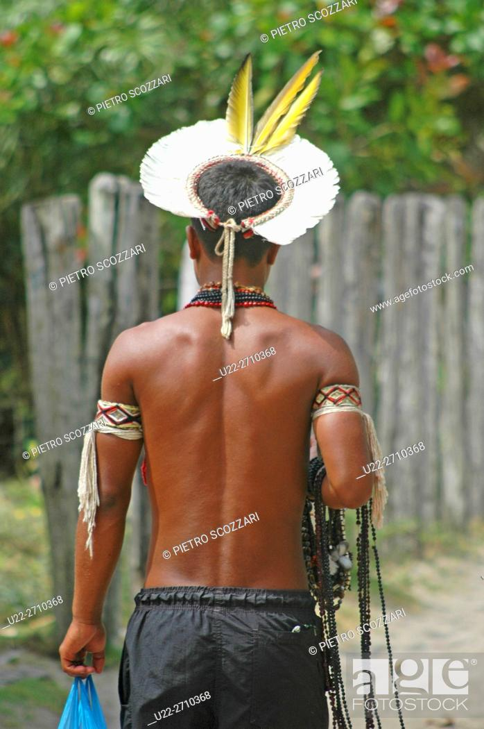 Stock Photo: Caraiva, Bahia, Brazil: Pataxó native.