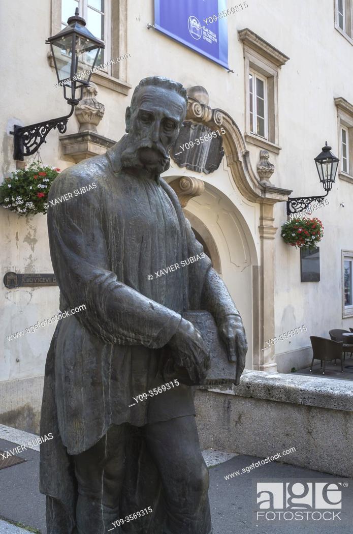 Stock Photo: Statue of Juraj Julije Klović, Zagreb, Croatia.