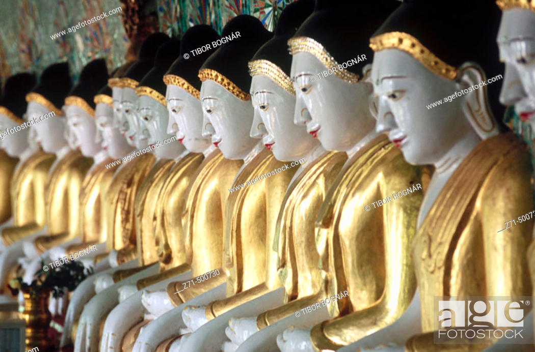 Stock Photo: Onhmin Thonze pagoda. Buddhas. Sagaing. Myanmar (Burma).