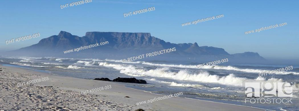 Stock Photo: Beach in Cape Town and Table Mountain South Africa.