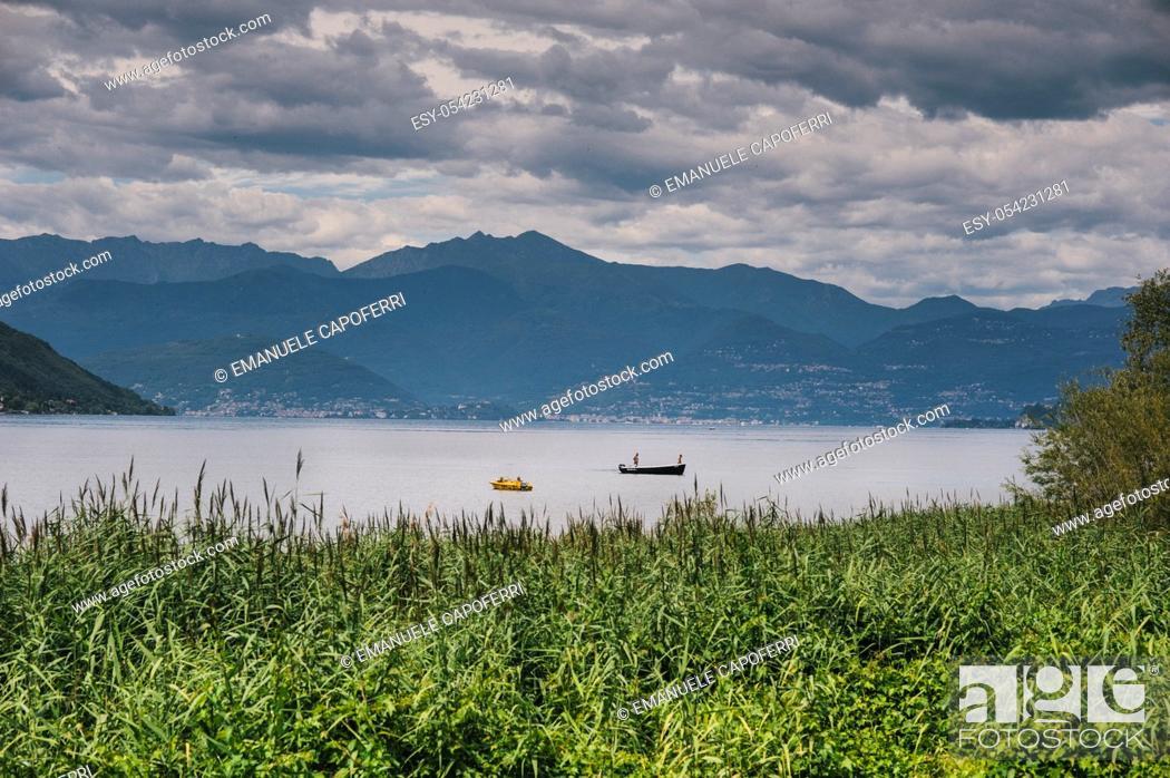 Stock Photo: Gulf of Quassa, Lake Maggiore, Ispra, Italy.
